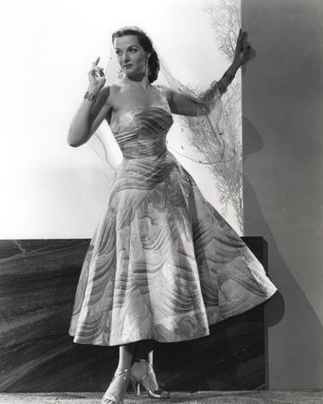 Jane Russell Posed in White Floral Silk Strap Dress