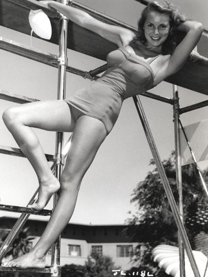 Janet Leigh Posed On The Steel Ladder In Grey Silk One