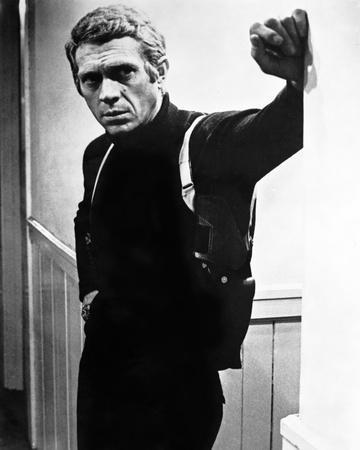 Steve McQueen Leaning Posed wearing Black Sweater in Black and White Portrait