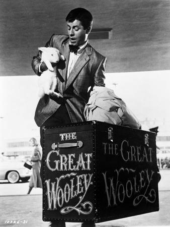 Dean Martin and Jerry Lewis Scene with a Man Holding a Rabbit in Black and White