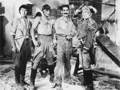 Marx Brothers standing with Construction Outfit with a Soldier- Photograph Print