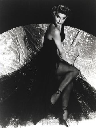 Ava Gardner wearing a Black Gown with Stockings and Stiletto