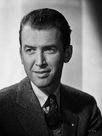 James Stewart Portrait in Black Herringbone Suit and Black Silk Necktie