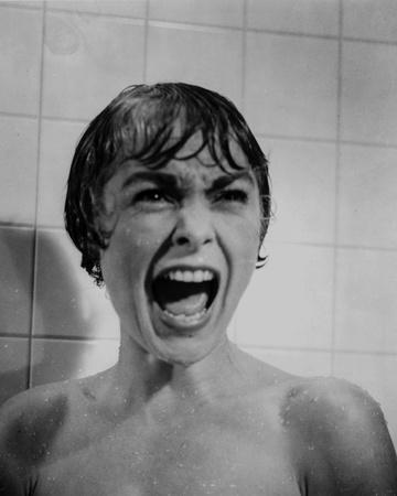 Psycho Close Up Portrait of Woman Screaming in Black and White