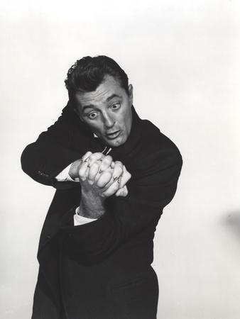 Robert Mitchum Posed in Black With Black and White Background