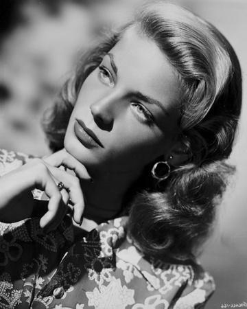 Lauren Bacall posed in Floral Dress with Hand on Chin in Black and White