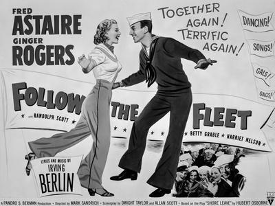 Fred Astaire and Ginger Rogers Follow the Fleet Movie Poster