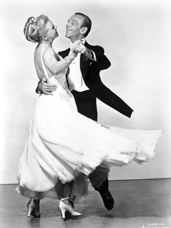 Fred Astaire and Ginger Rogers Dancing in White Dress and Black Suit
