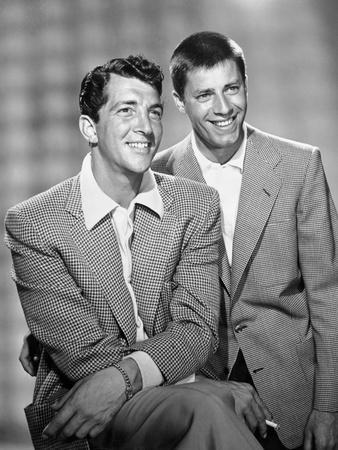 Dean Martin and Jerry Lewis Scene with Two Men smiling in Plaid Suit