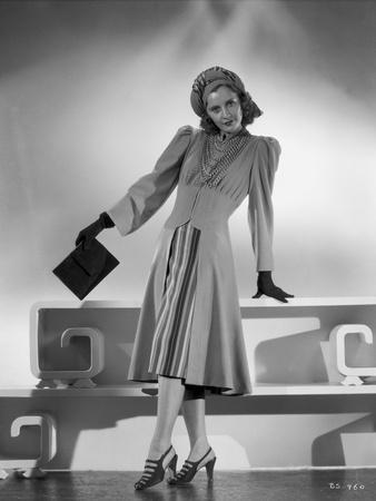 Barbara Stanwyck standing in Dress with Gloves and Heels Classic Portrait
