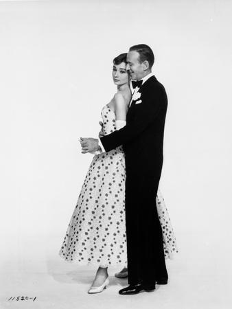 Portrait of Audrey Hepburn and Fred Astaire Dancing in White Background