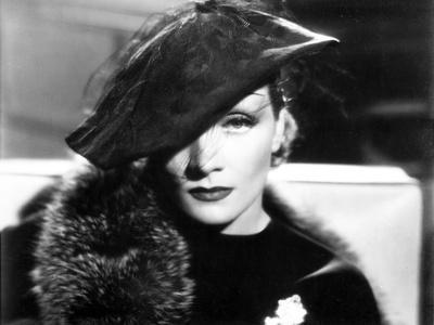 Marlene Dietrich Posed in Black Dress with Fur Shawl and Hat