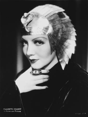 Claudette Colbert in Black with Egyptian Headdress Classic Portrait
