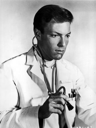 Richard Chamberlain standing in Doctor Attire With Stethoscope