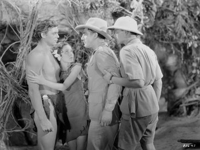Johnny Weissmuller Having a Fight with a Man in a Classic Movie Scene