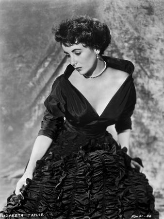 Elizabeth Taylor Posed in Gown with Necklace and Earrings