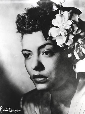 Billie Holiday Close Up Portrait with Floral Accessories