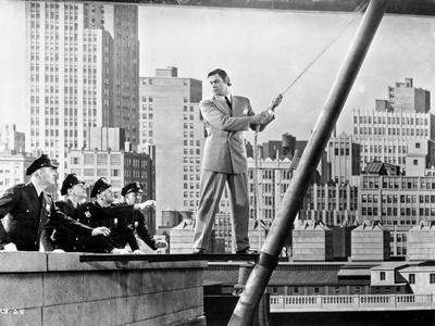 Johnny Weissmuller Attempting to Jump in Black and White