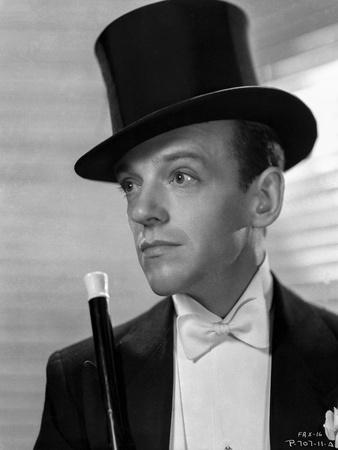 Fred Astaire Posed in Suit with Top Hat Black and White
