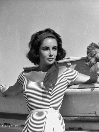 Elizabeth Taylor Posed in Stripe Top Classic Portrait