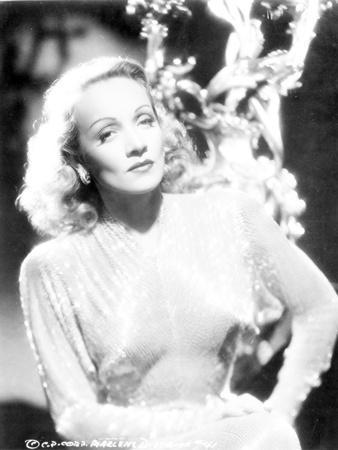 Marlene Dietrich Posed in Elegant Dress with Short Hair