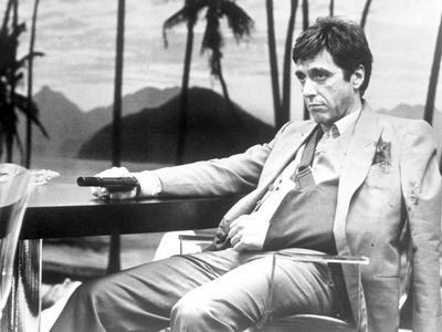 Al Pacino in Formal Outfit With Pistol Black and White