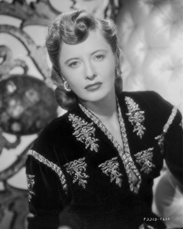 Barbara Stanwyck Close-up in Floral Dress Classic Portrait