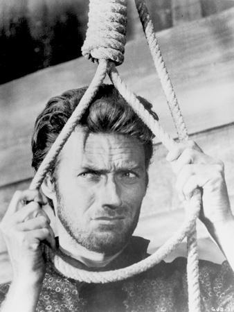 Clint Eastwood Holding Knotted Rope in Classic Portrait