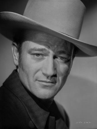 John Wayne wearing a White Hat in a Close Up Portrait
