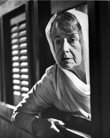 Peggy Ashcroft at the Window in Black and White Portrait