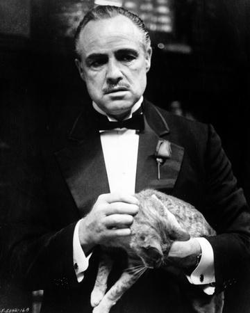Marlon-GF Brando in Black Coat with Bowtie Holding a Cat