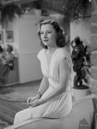 Barbara Stanwyck sitting Pose in Dress Classic Portrait