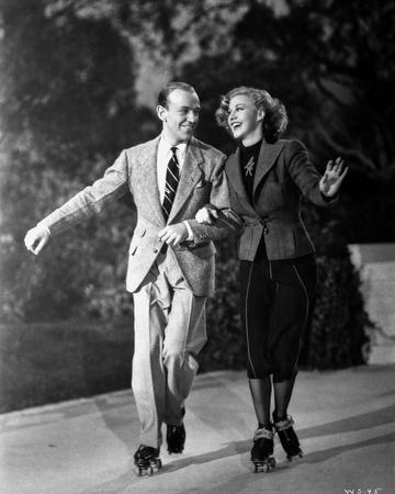 Fred Astaire and Ginger Rogers Running in Suit and Blazer