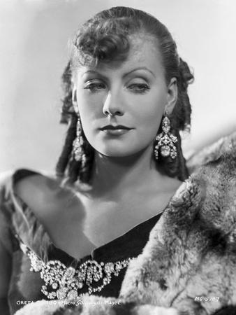 Greta Garbo wearing Fur Coat with Huge Earrings Portrait