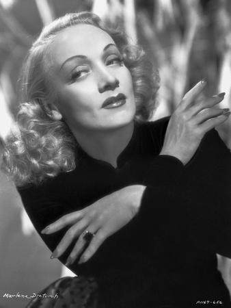 Marlene Dietrich Posed in Black Suit with Arm's Cross