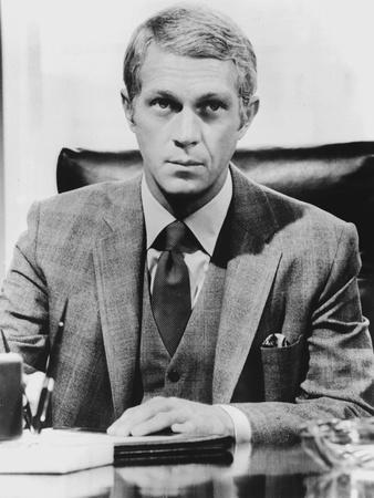 Steve McQueen wearing Formal Suit in Black and White