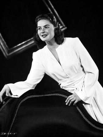 Ingrid Bergman in White Dress Black and White