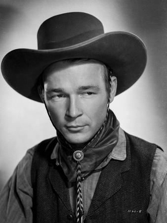 Roy Rogers Posed in Shirt and Vest with Cowboy Hat