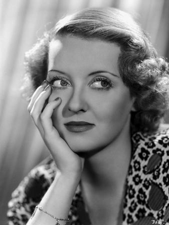 Bette Davis Portrait with Hand on Face in Leopard