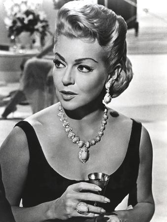Lana Turner Portrait in Black Dress with Necklace