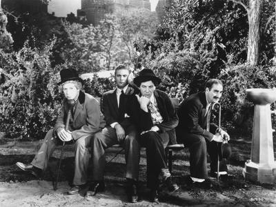 Marx Brothers sitting on a Bench in Black and White