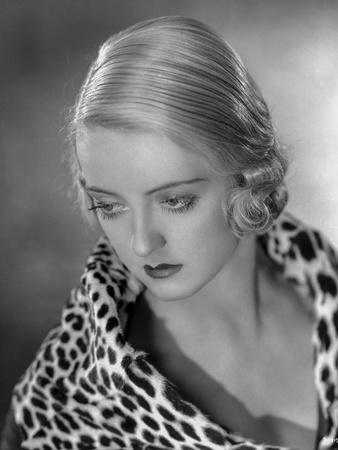 Bette Davis Portrait Looking Down in Leopard Fur