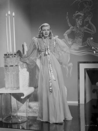 Ginger Rogers Curly Hair Posed wearing White Gown