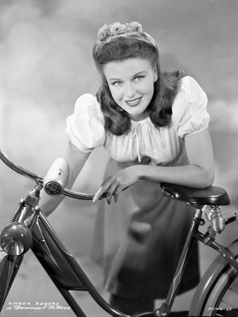 Ginger Rogers Posed on Bicycle Black and White