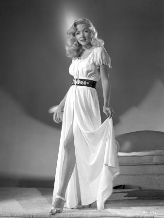 Gloria Grahame Curly Hair Posed in a White Dress