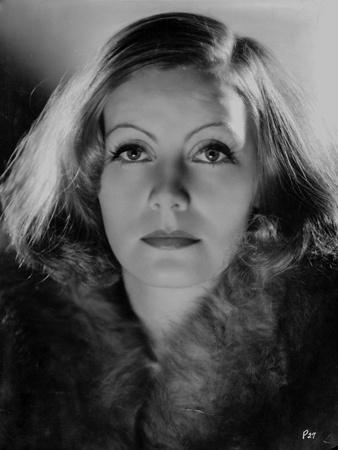 Greta Garbo wearing Fur Coat Close Up Portrait