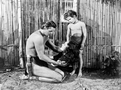 Johnny Weissmuller Kneeling in Black and White