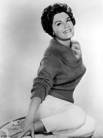 Connie Francis sitting Pose in Sweater Portrait