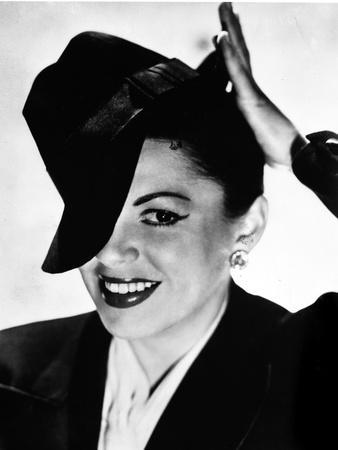 Judy Garland portrait with tipped hat on head