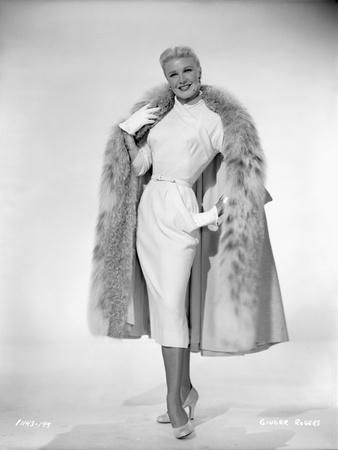Ginger Rogers in White Gown With Coat Portrait